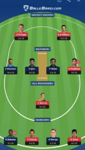RCB vs DC Ballebaazi Team for small league