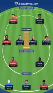 MI vs SRH Ballebaazi Team for small league