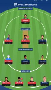 MI vs DC Balebaazi Team For Grand League