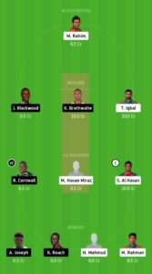 BAN Vs WI Dream11 Teams – 1  For small Leagues