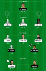 BAR VS PSG TODAY DREAM11 FOOTBALL TEAM