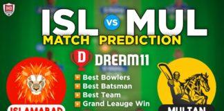 ISL vs MUL Dream11 Team Prediction 3rd Match PSL 2021 (100% Winning Team)