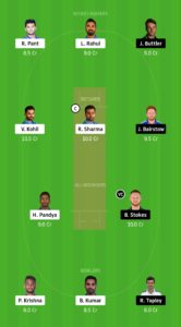 IND Vs ENG Dream11 Team for small league