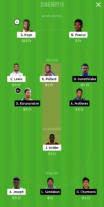 WI vs SL Dream11 Team for small league
