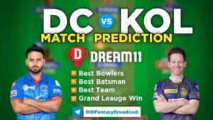 KOL vs DC Dream11 Team Prediction Qualifier 2 IPL 2021 (100% Winning Team)