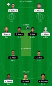 SA vs PAK Dream11 Team for Grand League