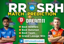 RR vs SRH Dream11 Team Prediction 28th Match IPL 2021 (100% Winning Team)