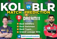 KOL vs BLR Dream11 Team Prediction 30th Match IPL 2021 (100% Winning Team)