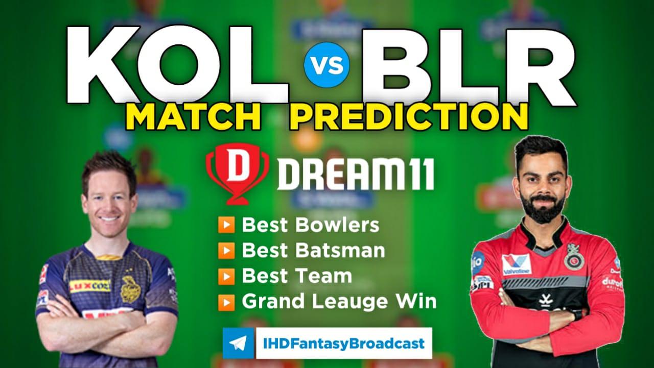 KOL vs BLR Dream11 Team Prediction 30th Match IPL 2021 (100% Winning Team)