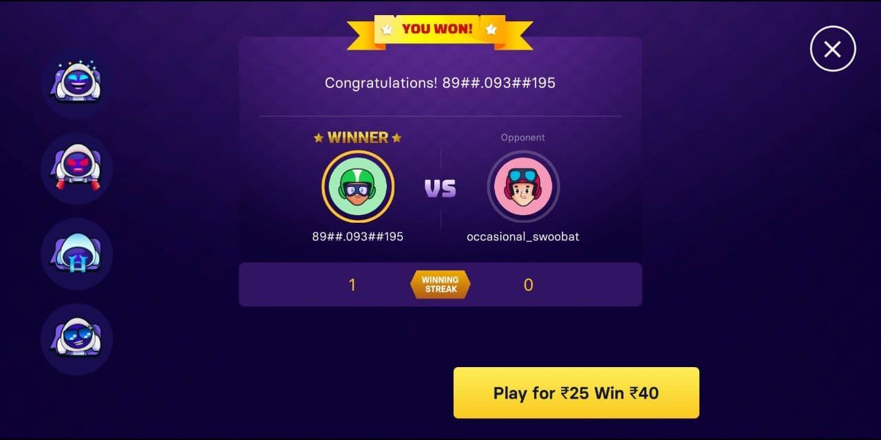 Gamezy Winning ludo