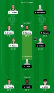 IRE vs SA Dream11 Team for Grand League