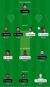 SL vs IND Dream11 Team For Grand League