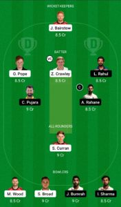 ENG vs IND Dream11 Team for Grand League