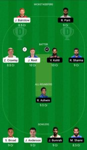 ENG vs IND Dream11 Team for Small League