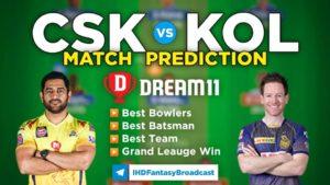 CSK vs KOL Dream11 Team Prediction IPL 2021 Final (100% Winning Team)